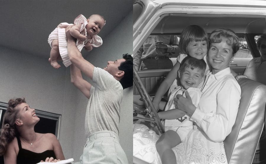 Debbie Reynolds watching Eddie Fisher holding Carrie up in the air as a baby / Debbie Reynolds holding Todd and Carrie Fisher on her lap in the front seat of a car