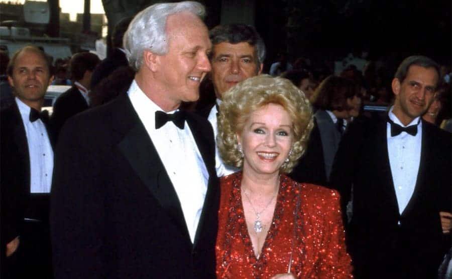 Richard Hamlett and Debbie Reynolds at a red-carpet event together