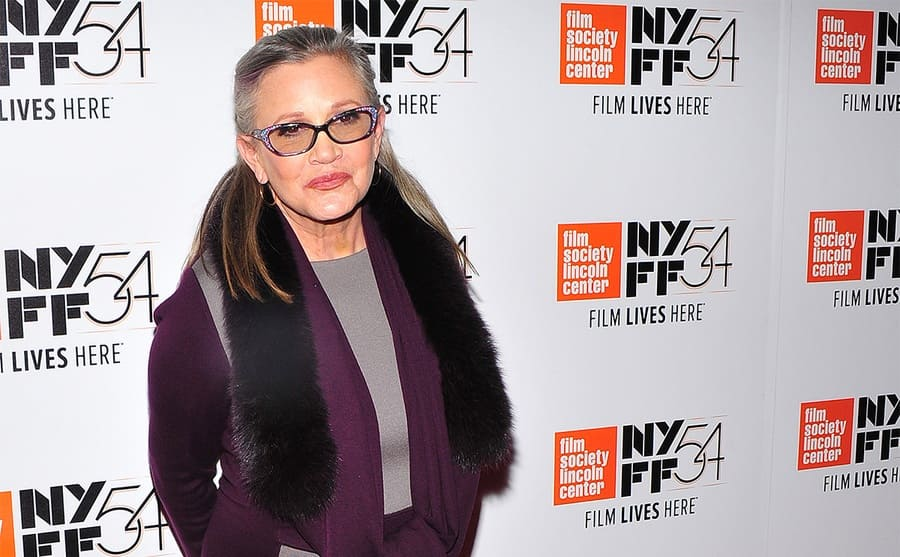 Carrie Fisher on the red carpet in 2016