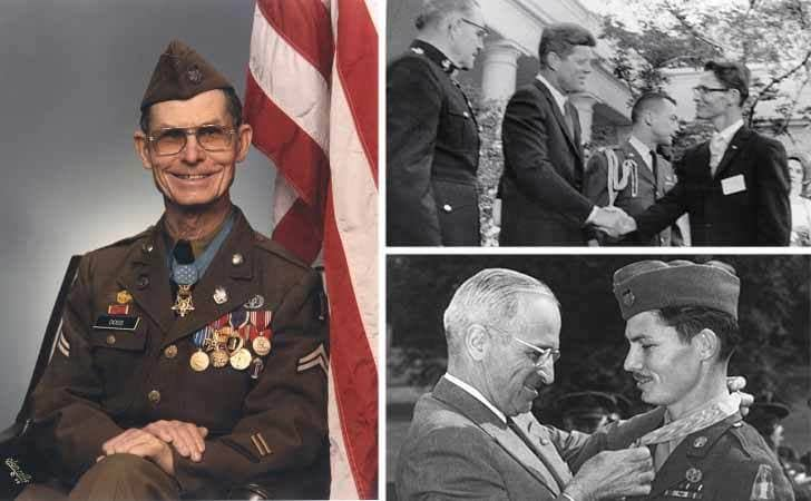 Desmond Doss posing for a photograph in his military uniform at an old age / Desmond Doss shaking John F. Kennedy's hand / Desmond Doss receiving his medal of honor from Truman
