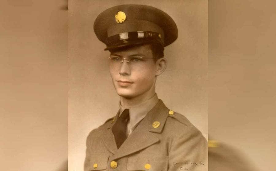 Desmond Doss posing in his army uniform