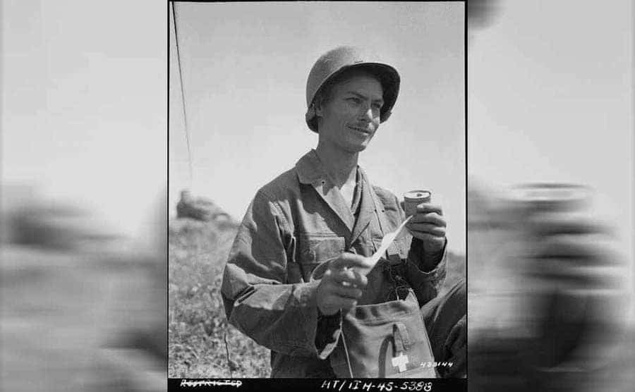 Desmond Doss in the field during WWII