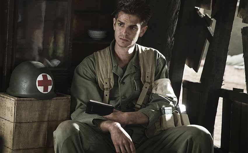 Andrew Garfield with his Bible in hand in Hacksaw Ridge