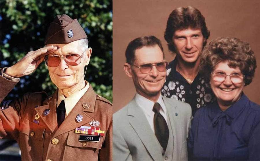 Desmond Doss saluting at an older age in uniform / Desmond Doss with his wife and son