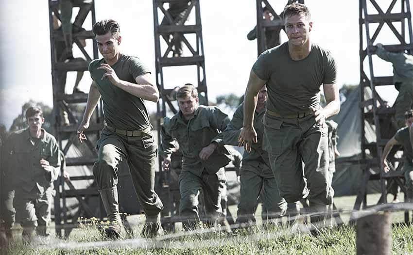Andrew Garfield and Luke Bracey in a scene from Hacksaw Ridge 2016