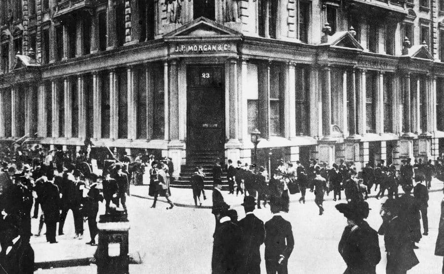 The JP Morgan and Co bank on a street corner