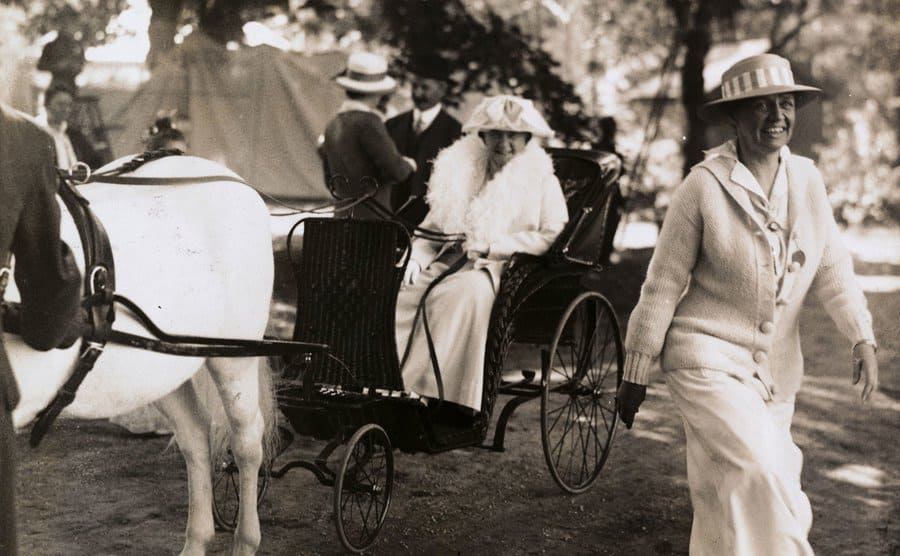 Mrs. JP Morgan Sr sitting in a carriage drawn by a horse