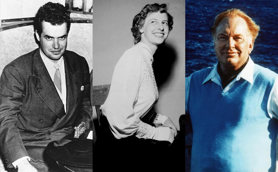 Jack Parsons / Sarah Northrup sitting in a wooden chair / L Ron Hubbard standing in front of an ocean