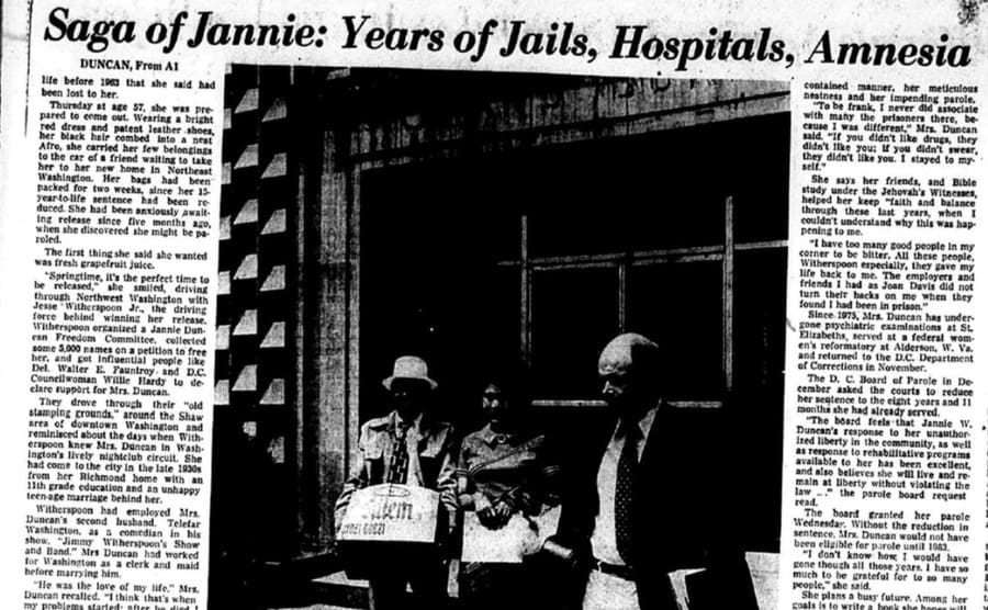 A newspaper article about Jannie and her years of jailtime, hospitals, and amnesia