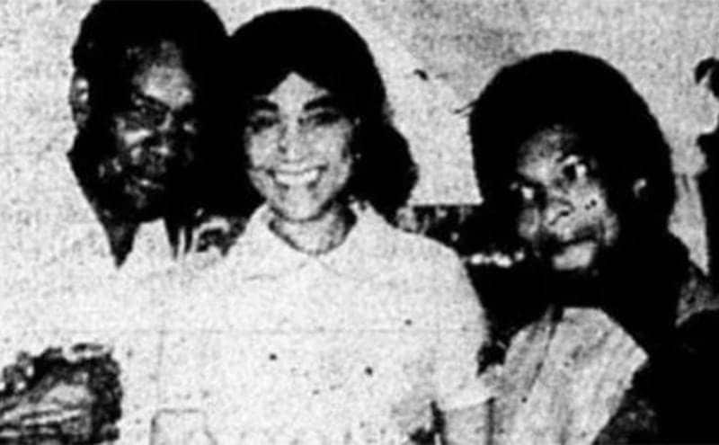 Jannie posing with others a year after her wedding