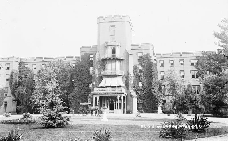 A photograph of St. Elizabeth's Hospital in the 1950s
