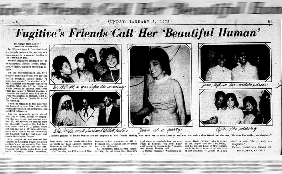 The news article talking about how the fugitive's friends called her a beautiful human