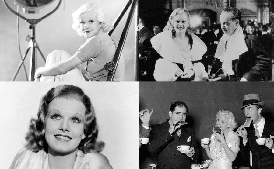 American actress Jean Harlow reading a scrip on a movie set/Harlow And Paul Bern In Hollywood/Actress Jean Harlow in a scene from the movie