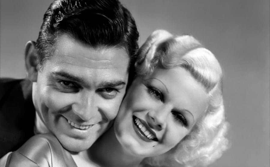 Actress Jean Harlow and Clark Gable in a scene from the movie
