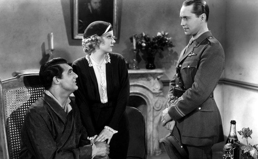 Actress Jean Harlow, Cary Grant, and Franchot Tone in a scene from the movie