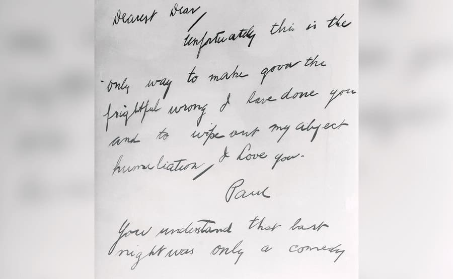 This is a facsimile of the suicide note left by Paul Bern to his platinum-haired actress wife, Jean Harlow before he committed suicide in Hollywood.