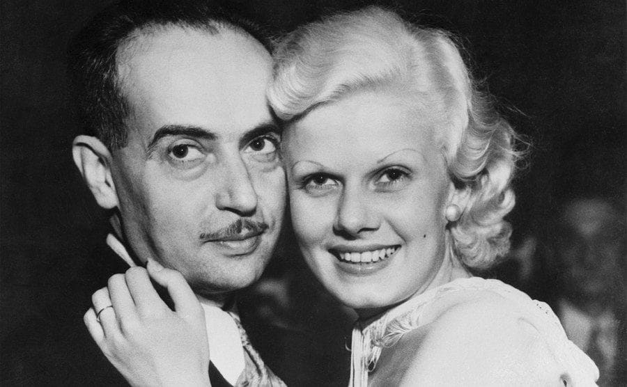 Jean Harlow and new husband Paul Bern, German-born writer and studio executive.