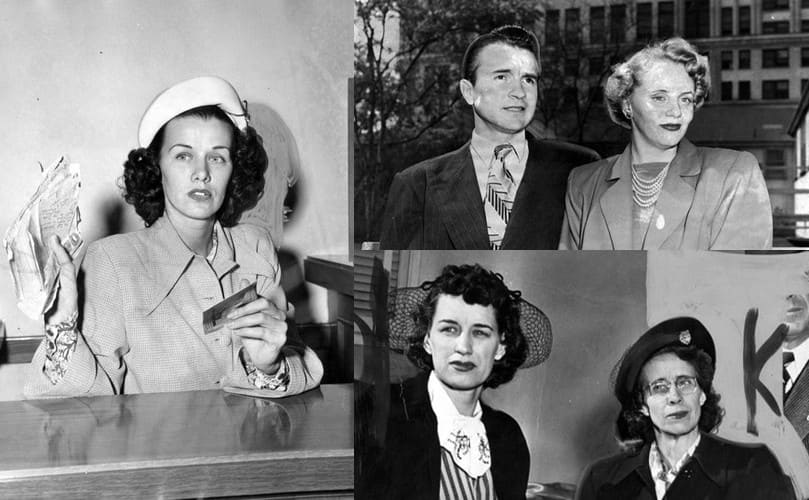 Jean Spangler in court showing off a handful of documents / Dexter and Lynn Benner sitting on a park bench / Jean's mother and Sophie posing with a man behind them