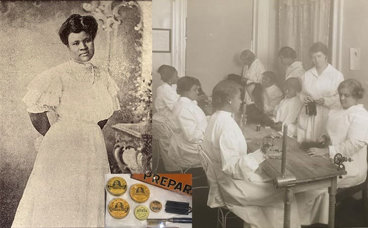 Sarah Breedlove at the age of 14 / Women learning how to do hair at Madam C.J. Walkers school / Madam C.J. Walker's products next to hot combs