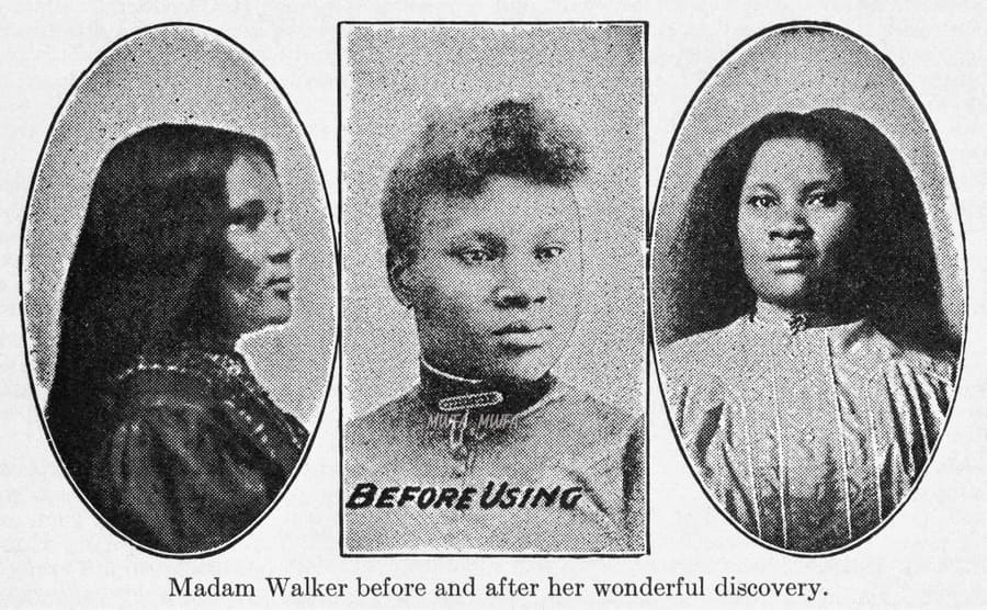 Madam C.J. Walker's hair before and after her discovery