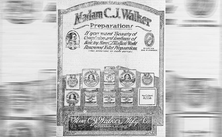 An ad for Madam C.J. Walkers hair care products