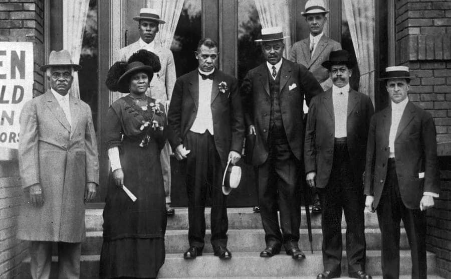 Madam C.J. Walker, Booker T. Washington, and others at the dedication of the Senate Avenue YMCA 1913