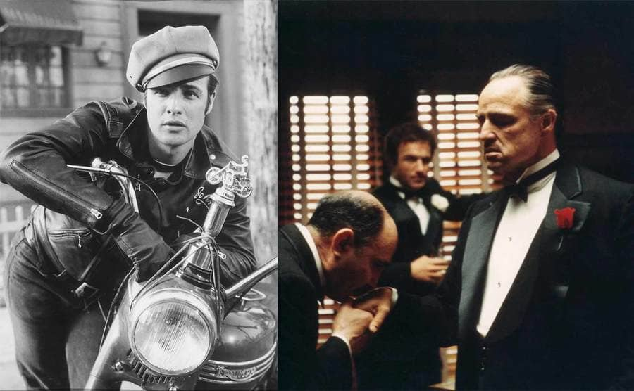 Marlon Brando leaning on a motorcycle on the set of the film The Wild One / Marlon Brando in the Godfather 1972
