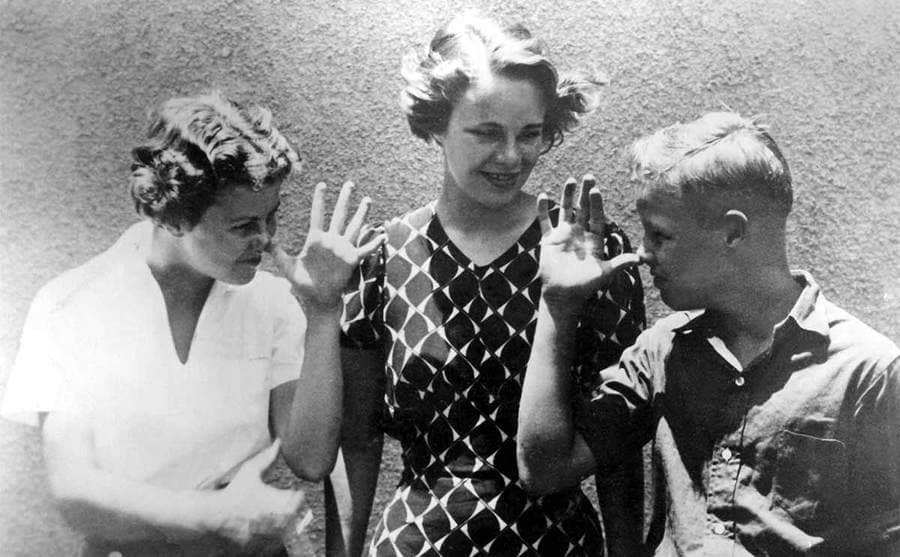 Marlon Brando with his two sisters