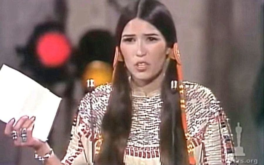 Sacheen Littlefeather during the Oscars awards ceremony