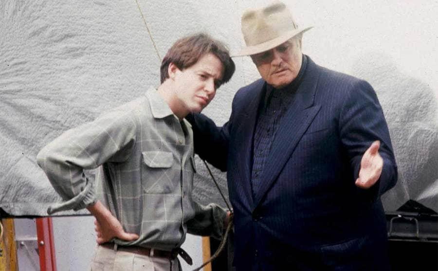 Marlon Brando talking to Matthew Broderick on the set of the Freshman