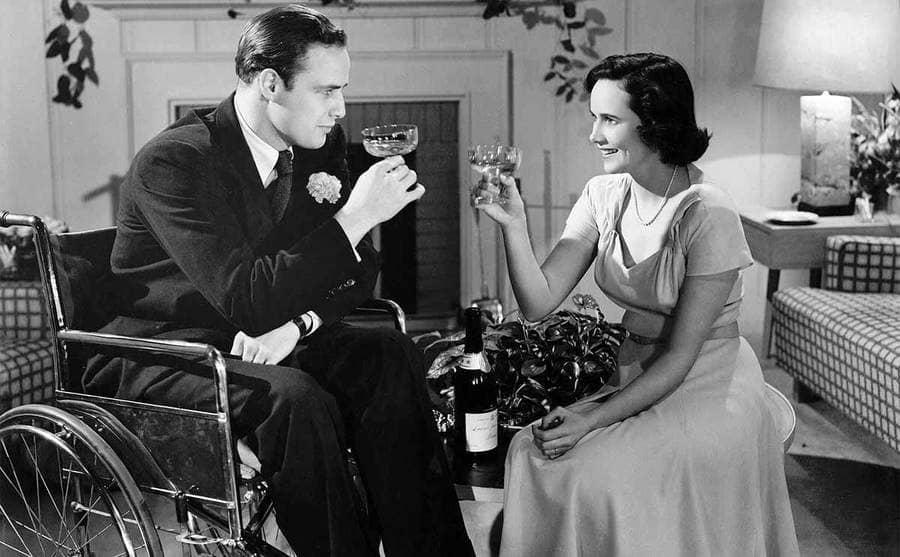 Marlon Brando and Teresa Wright in the film The Men