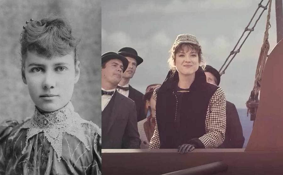 A portrait of Nellie Bly / Ellie Kemper as Nellie Bly standing near the ledge of a ship in an episode of Drunk History