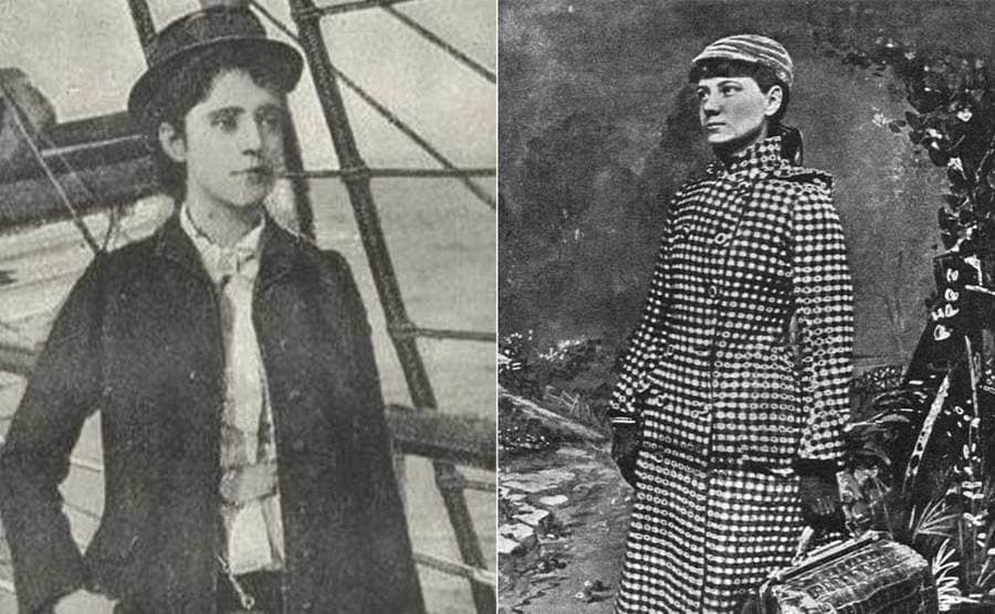 Elizabeth Bisland standing on a ship / Nellie Bly standing around with a large trench coat on