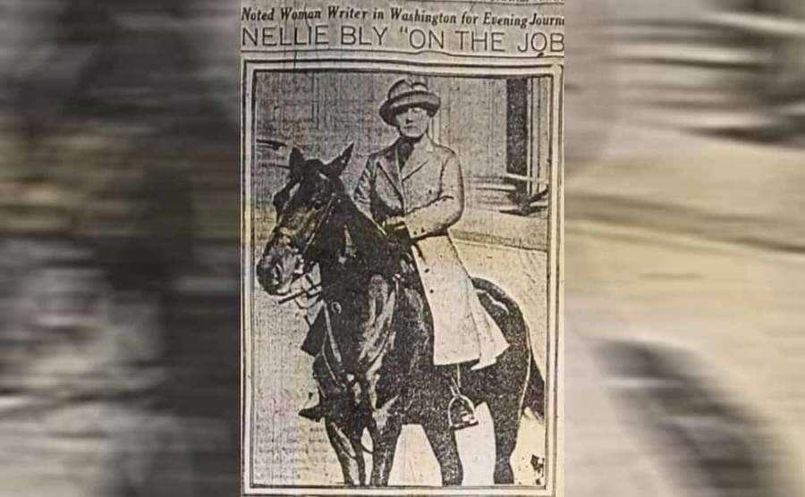 A photograph of Nellie Bly on a horse in a newspaper article titled Nellie Bly On The Job