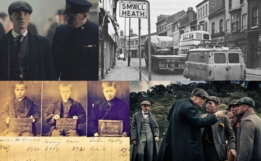 Tommy Shelby conversing with a police officer/A 1920's photo of the streets of Small Heath/Old mug shots of real peaky blinders/Thomas Shelby pointing a threatening figure at some scared-looking men.