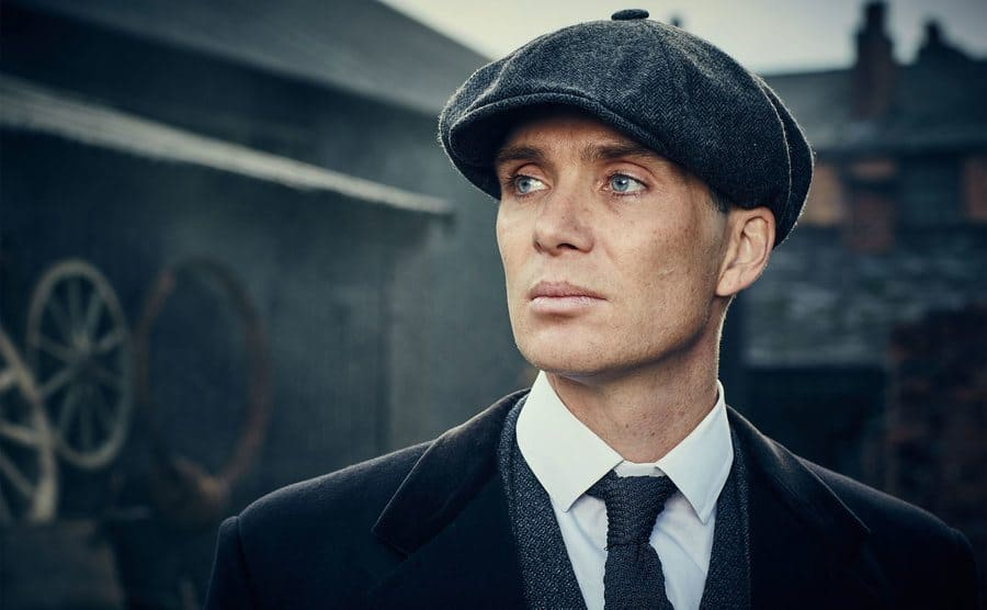 A publicity photo of Cillian Murphy from 'Peaky Blinders'.