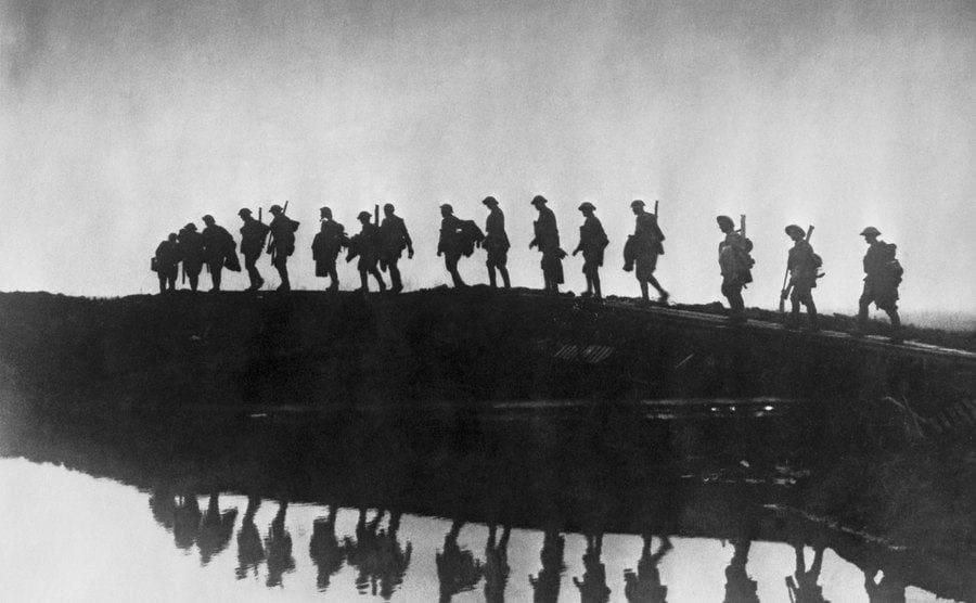 Troops walking to war.