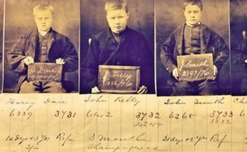 An old photo showing mug shots of baby-faced gangsters.