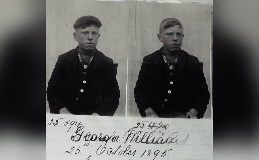 """A mug shot of the 19year old George """"Cloggy Williams""""."""