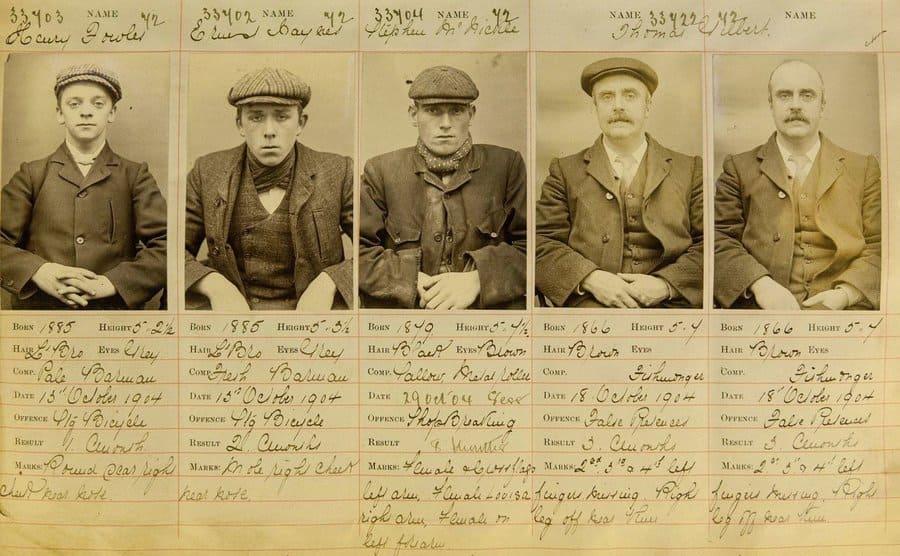Old mug shots of real peaky blinders