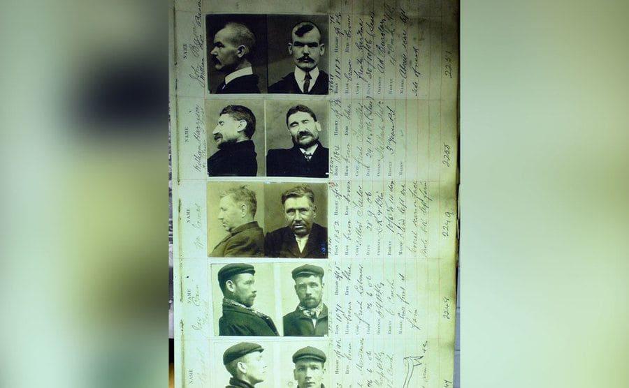 Mug shots of gang members from the 1920s.