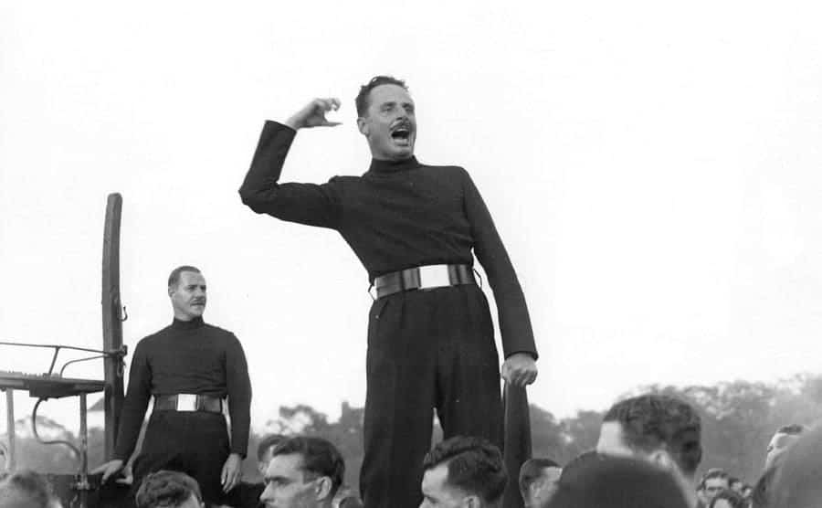 Sir Oswald Ernald Mosley, the 6th Baronet, the English politician who became the leader of the British Union of Fascists, wearing a distinctive brown uniform.