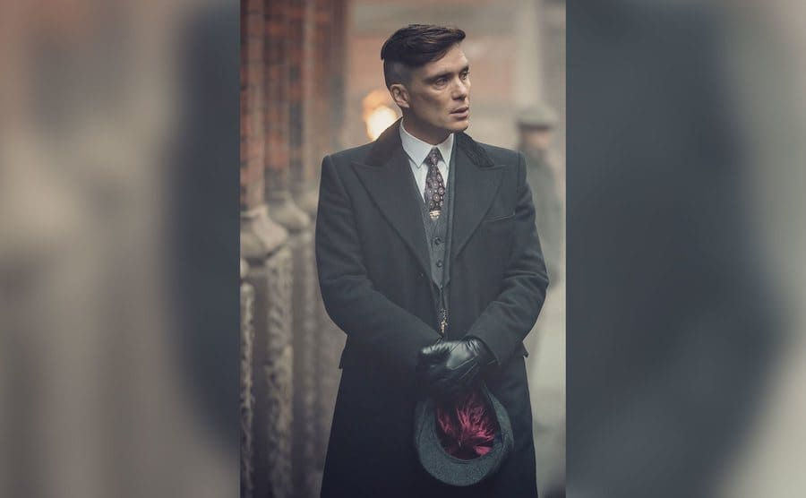 Cillian Murphy in character on the set of Peaky Blinders