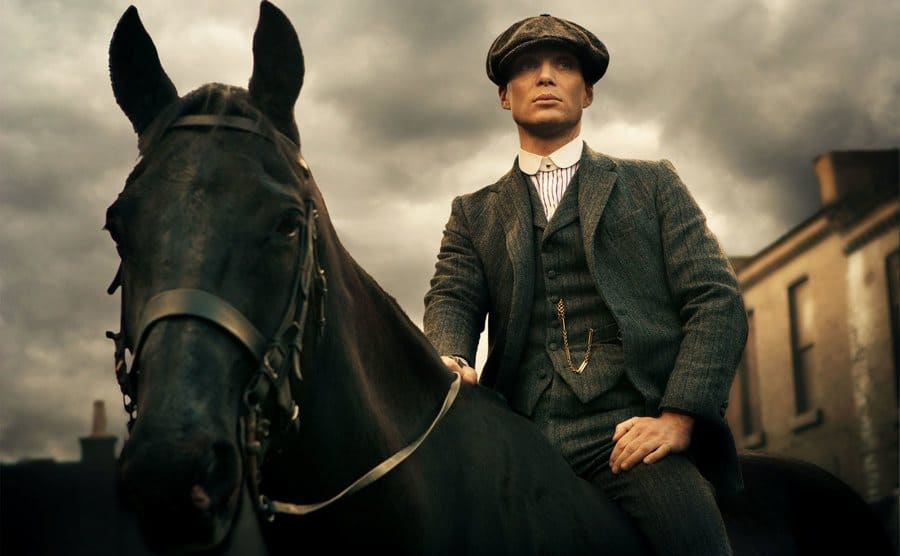 Tommy Shelby on the back of a horse.