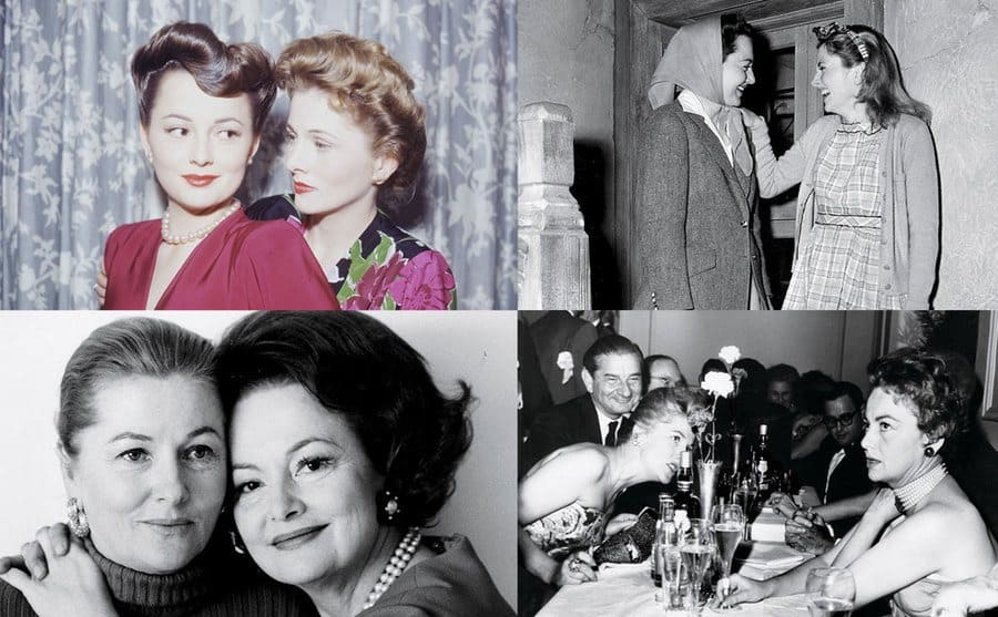 Actress Olivia de Havilland with her sister, actress Joan Fontaine is standing behind her / Joan and Olivia standing at the top of the stairs laughing / Joan Fontaine and Olivia de Havilland in their old age embracing one another / The sisters at a party at the Voisin restaurant, in New York City, 1962.