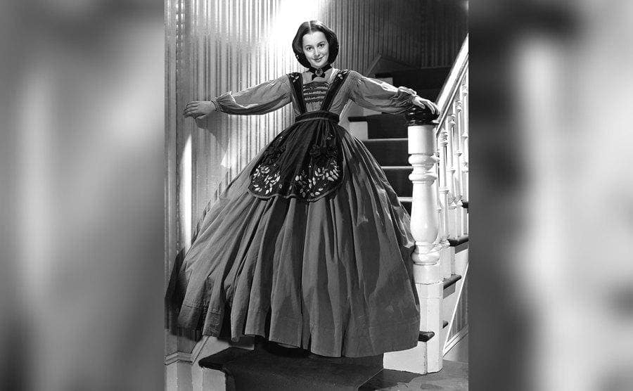 Olivia de Havilland on the set of 'Gone with the Wind'.