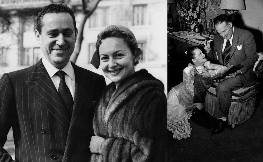 British-American actress Olivia de Havilland with her fiance, French journalist Pierre Galante / Olivia de Havilland, and first husband, Marcus Goodrich