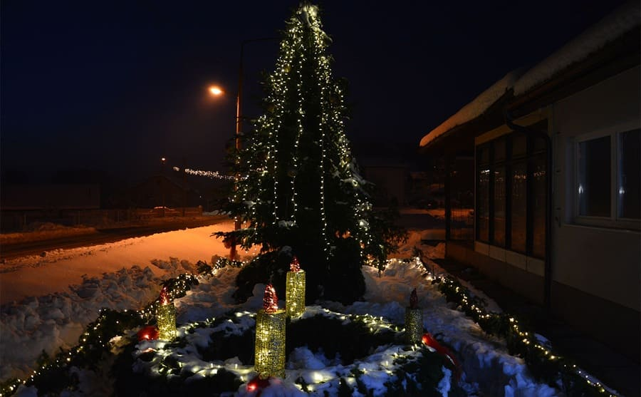 A Christmas tree with lights strung around a snowy front yard