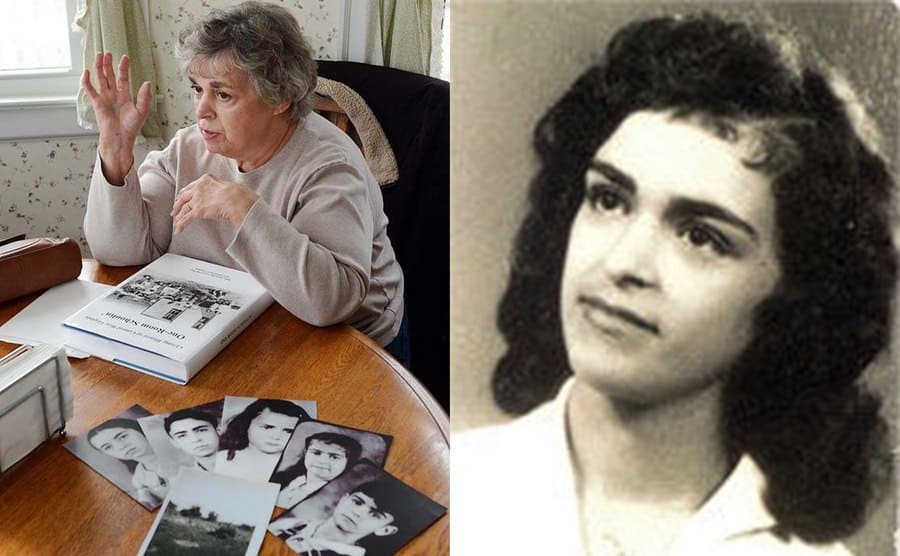 Sylvia Sodder sitting at a table with photographs of her missing siblings next to a photograph of her from around the time of the fire