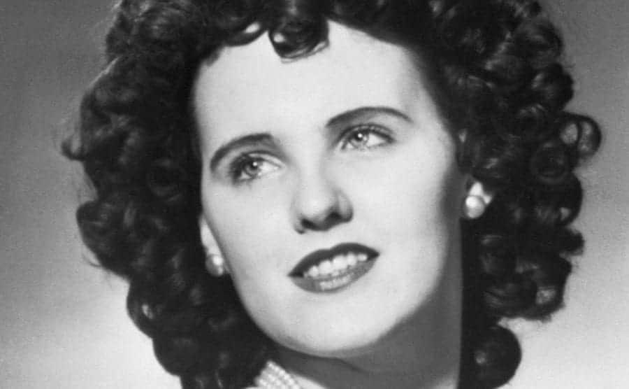 A headshot of aspiring actress Elizabeth Short, a murder victim nicknamed the Black Dahlia.